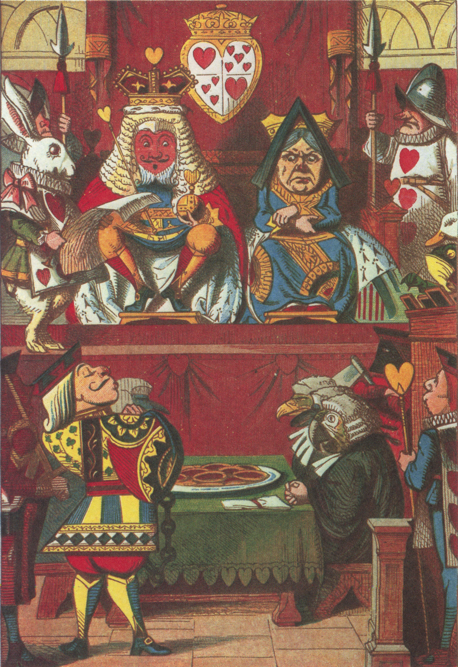 King and Queen of Hearts in court, colored