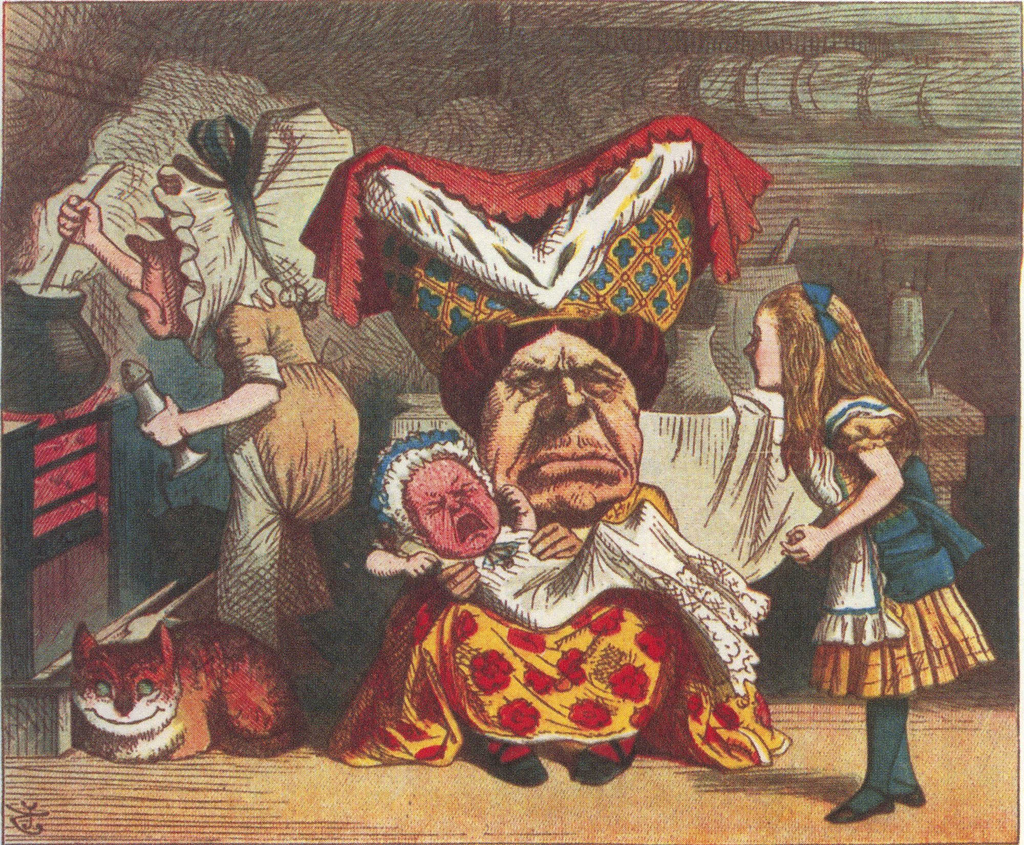 Alice with the Duchess, baby and cook, colored