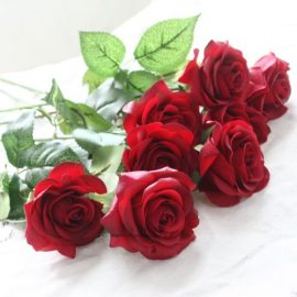 10pcs-Head-Real-Touch-Latex-Rose-Flowers-For-wedding-Bouquet-Decoration-8-Colors-KC305-Red-Rose-0