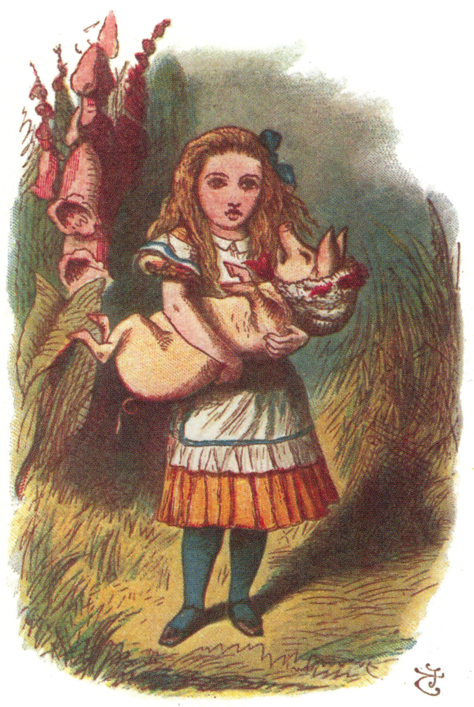 Alice carrying the pig baby, colored