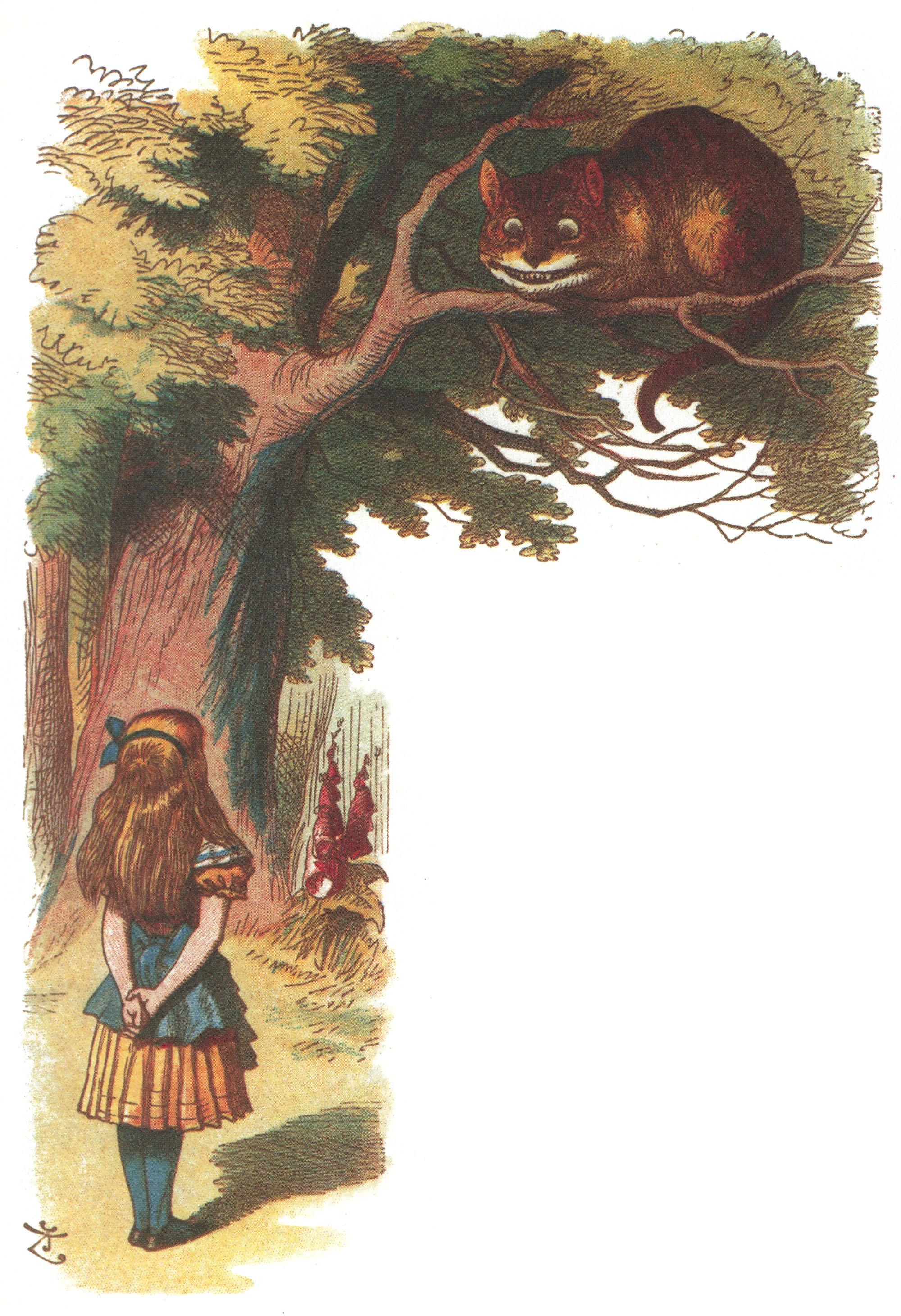 Alice looking at the Cheshire Cat, colored