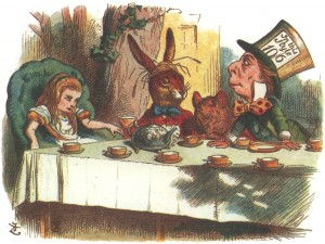 Alice, the March Hare, the Mad Hatter and the Dormouse, colored