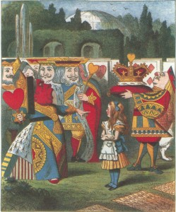 Queen of Hearts shouting at Alice, colored