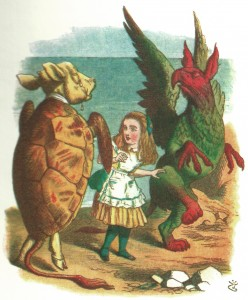 Alice dancing with the Gryphon and Mock Turtle, colored