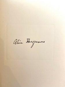 Alice's signature in the 1932 edition