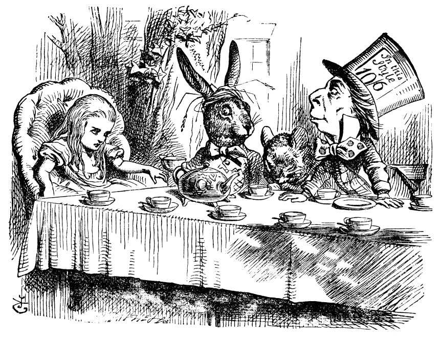 Alice with the Mad Hatter and March Hare at the tea party table