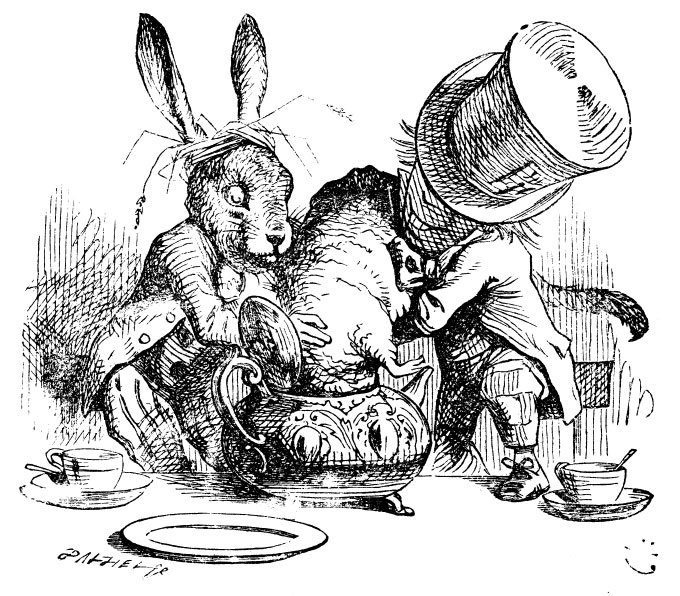 Mad Hatter and March Hare putting the Dormouse in the teapot