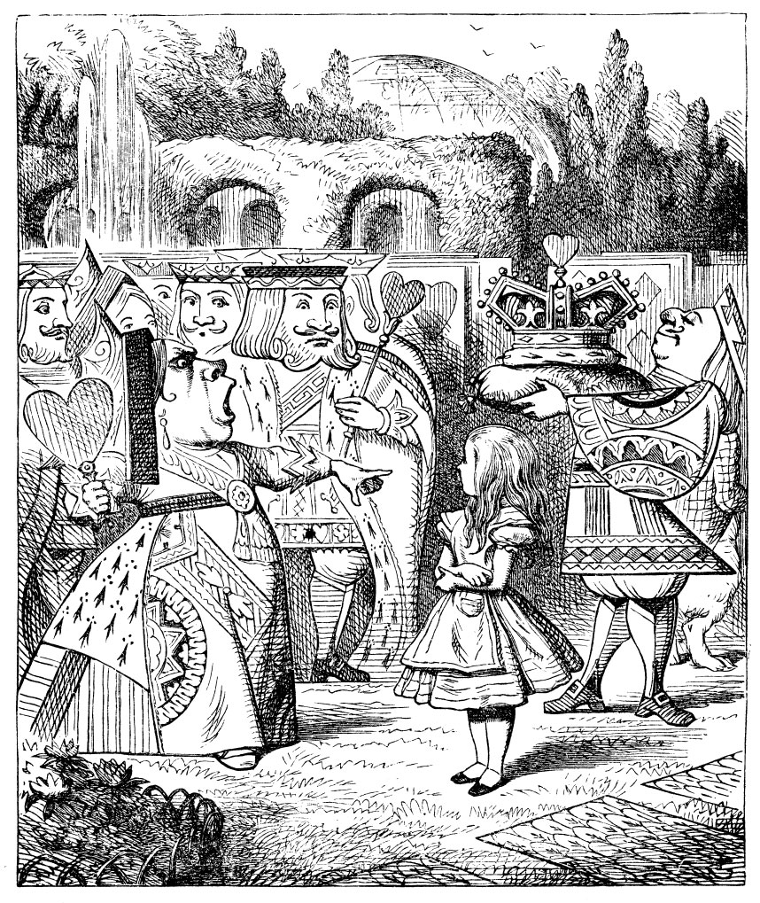 Queen of Hearts shouting at Alice