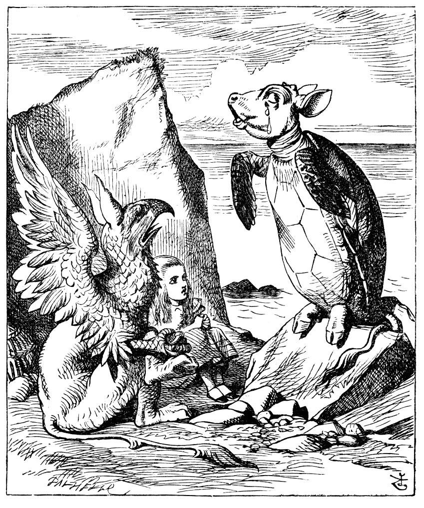 Alice listening to the Mock Turtle and Gryphon