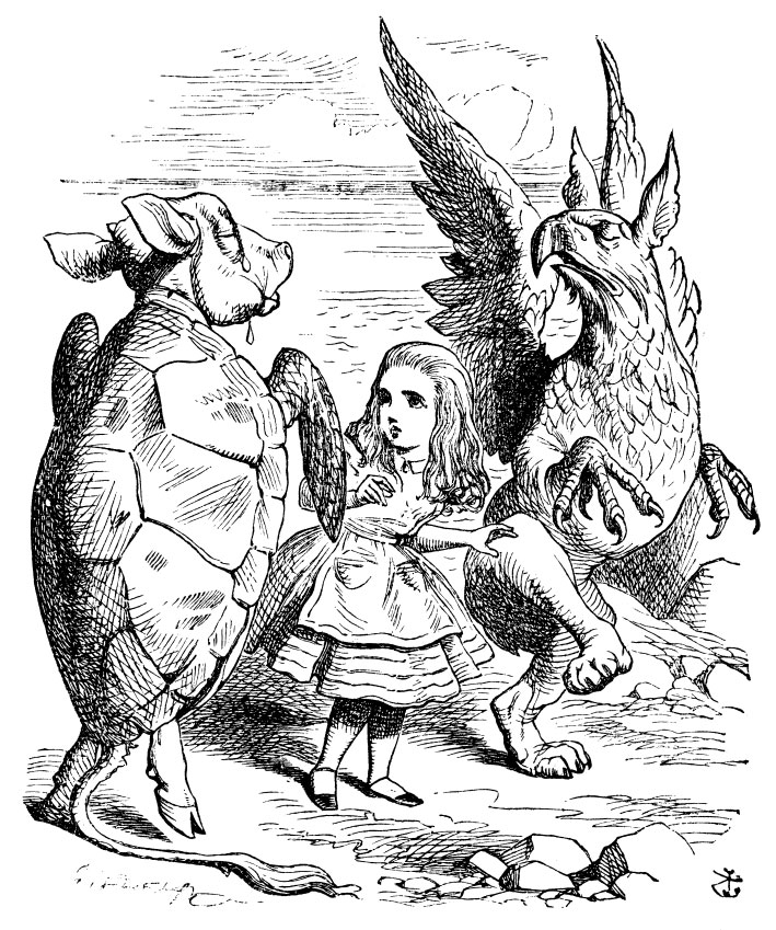 Alice dancing with the Mock Turtle and Gryphon