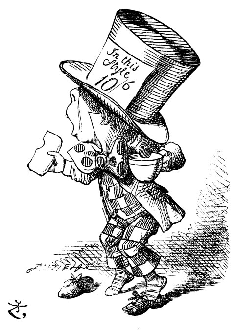 The Mad Hatter with a cup of tea
