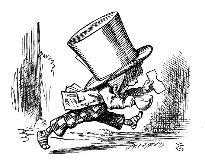 The Mad Hatter running