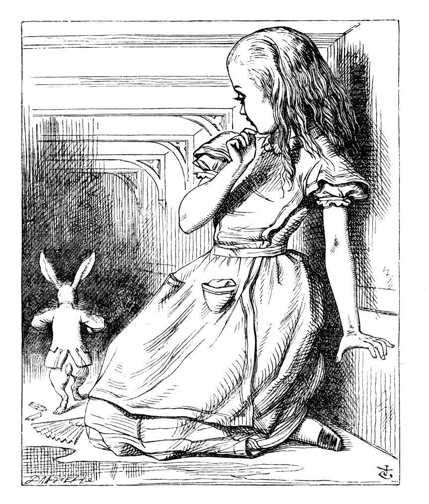 Alice looking at the White Rabbit running away