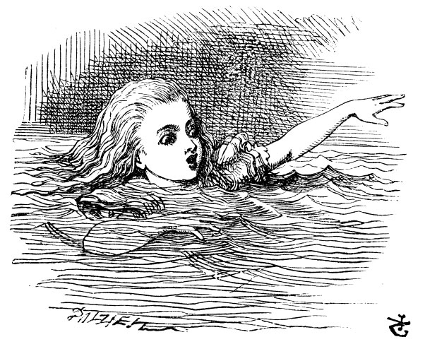 Alice swimming in the Pool of Tears
