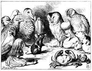 Alice with the strange looking party of animals