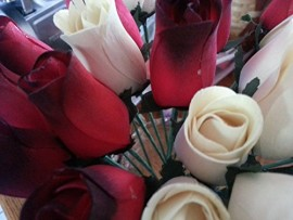 2-Dozen-Wooden-Roses-Red-with-Black-Tip-Creme-Colored-Little-Chicago-Distributing-0-1