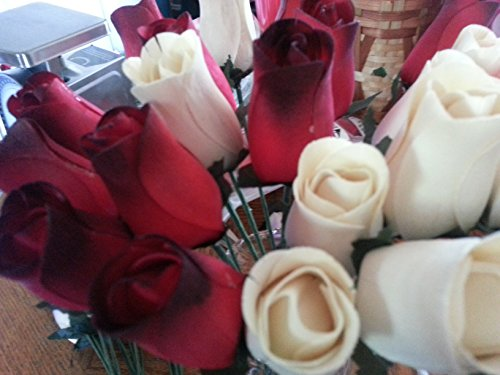 2-Dozen-Wooden-Roses-Red-with-Black-Tip-Creme-Colored-Little-Chicago-Distributing-0