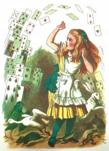 Alice and the shower of cards, colored