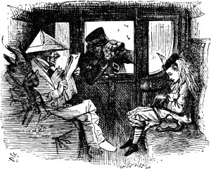 Alice in the train carriage