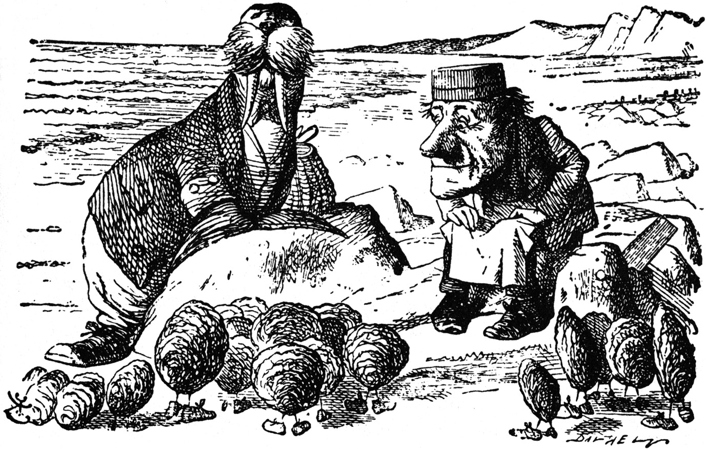 Walrus and Carpenter with oysters