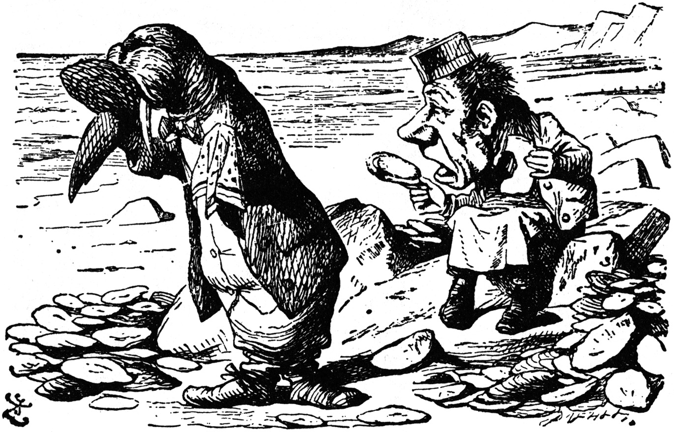 Walrus and Carpenter eating oysters