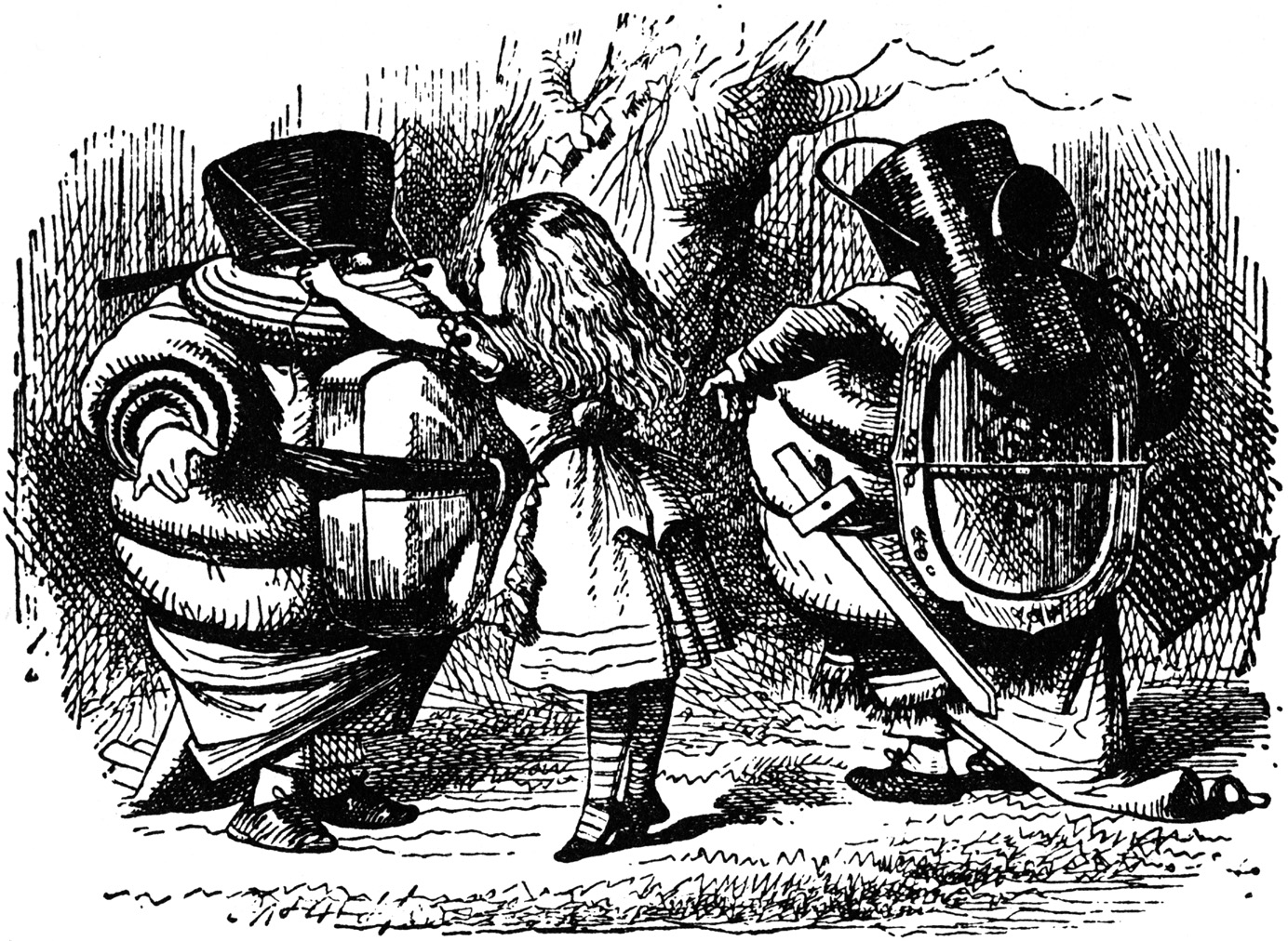 Alice preparing Tweedledum and Tweedledee for battle