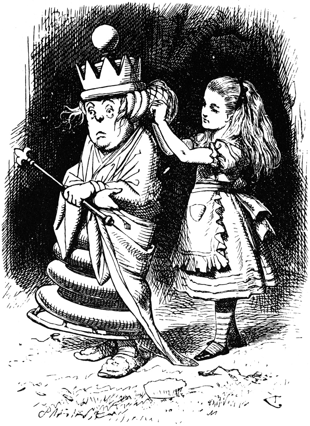 Alice fixing the White Queen's hair