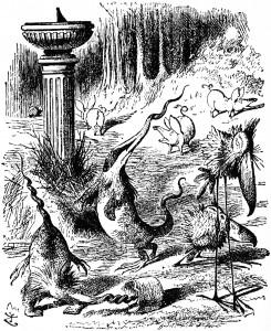 Jabberwocky creatures around sun dial