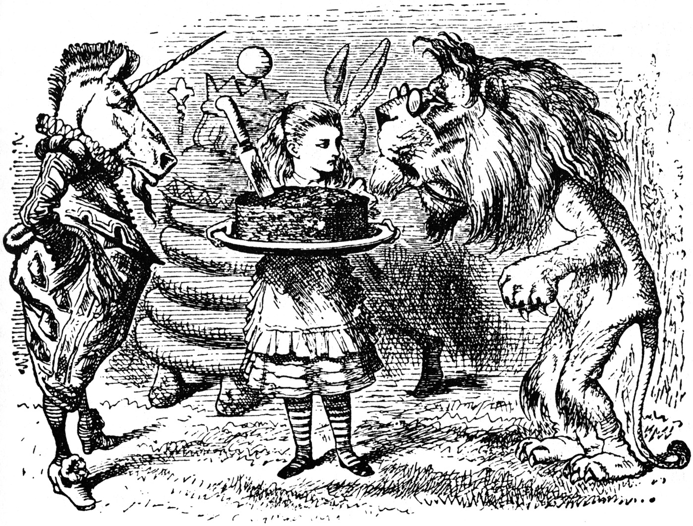 Alice holding plum cake for the Lion and Unicorn