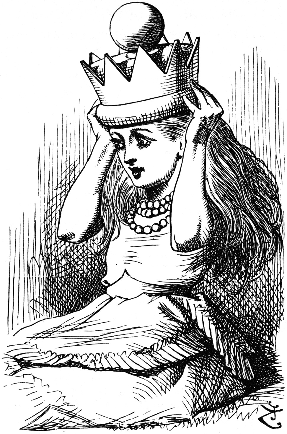 Alice wearing crown