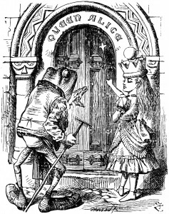 Alice and frog at the door