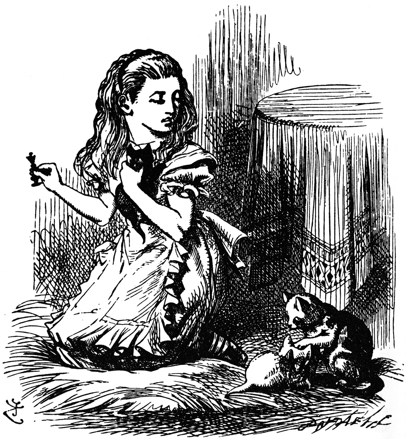 Alice with kittens