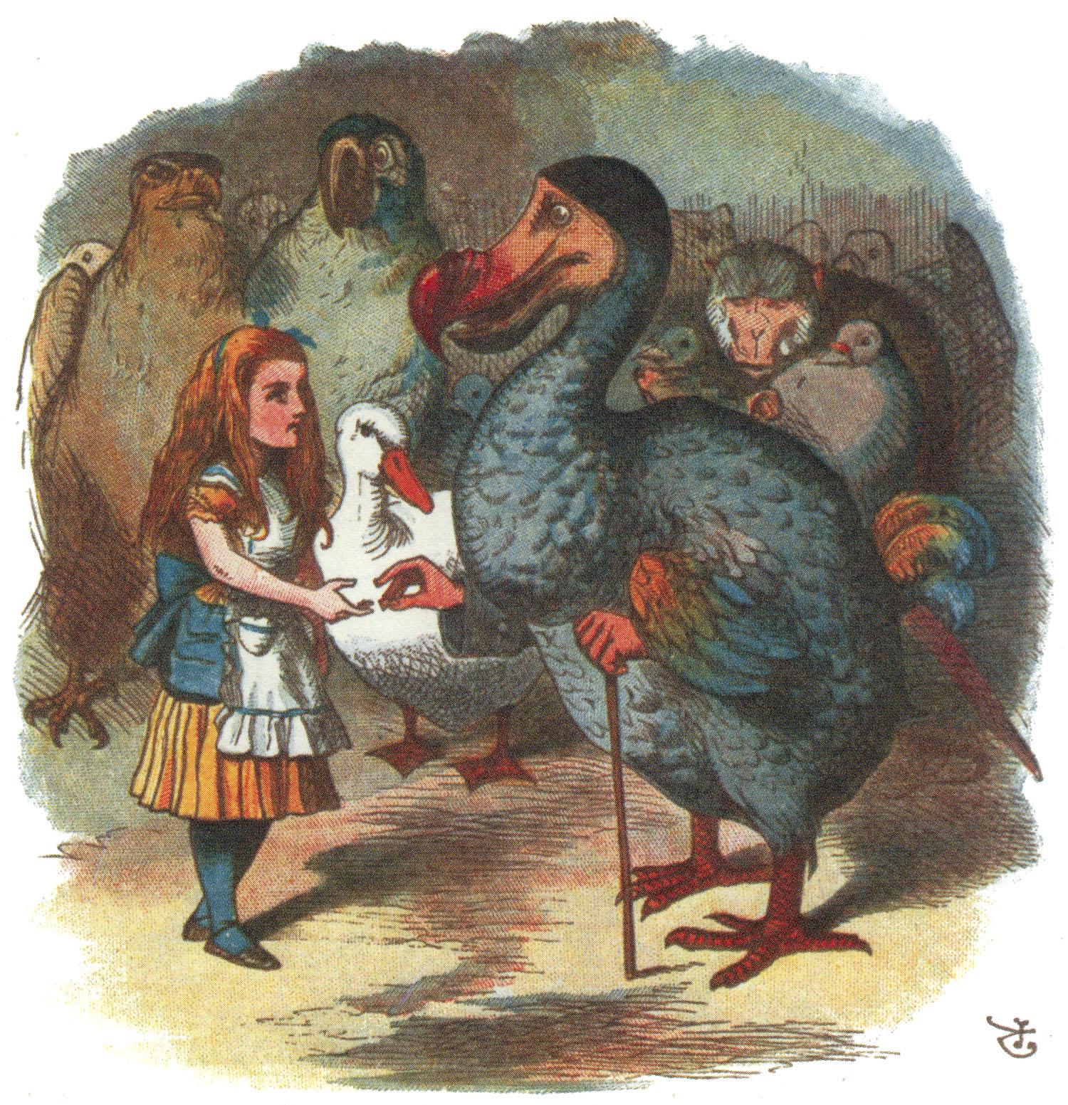 Dodo handing Alice a thimble, colored