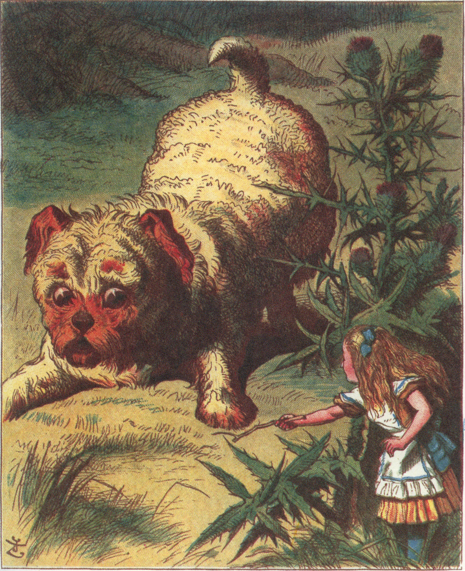 Alice and the puppy, colored