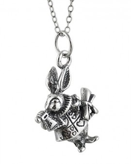 925-Sterling-Silver-White-Rabbit-3D-Necklace-18-inch-chain-Alice-in-Wonderland-character-0