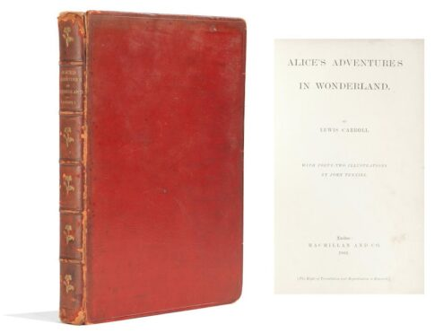 Cover and title page of presentation copy of Alice's Adventures in Wonderland, first edition 1866