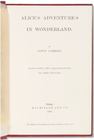 Title page of 1866 Alice's Adventures in Wonderland copy