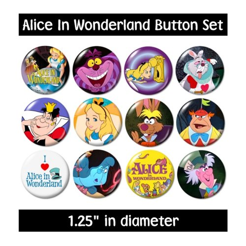ALICE-IN-WONDERLAND-BUTTONS-pins-badges-1951-cartoon-cheshire-mad-hatter-queen-0