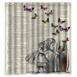 Alice-In-Wonderland-Christmas-Gift-Design-of-Waterproof-Bathroom-Fabric-Shower-Curtain-with-12hooks-66x72-inch-0
