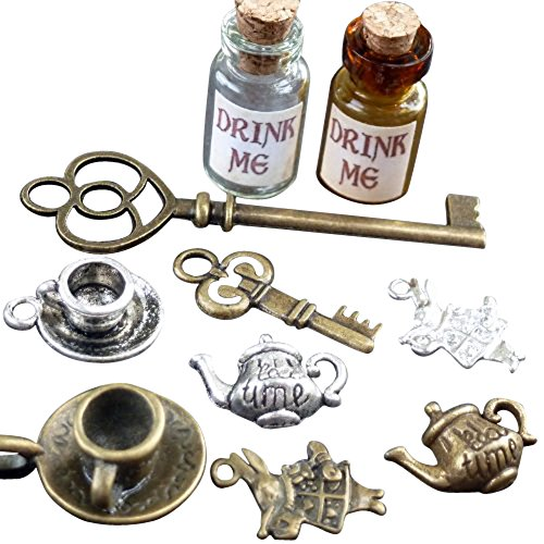 Alice-in-Wonderland-10-Pcs-Steampunk-Antique-1ml-Drink-Me-Bottle-Vial-Jewelry-Charm-Findings-Mix-Lot-99-0