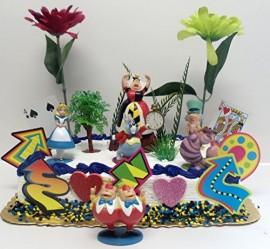 Alice-in-Wonderland-Birthday-Cake-Topper-Set-Featuring-Various-Alice-in-Wonderland-Decorative-Themed-Elements-Alice-Mad-Hatter-Cheshire-Cat-Queen-of-Hearts-White-Rabbit-and-Tweedledee-and-Tweedledum-C-0