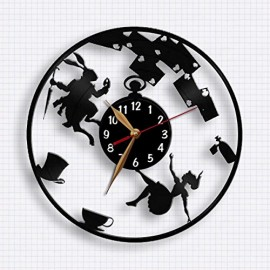 Alice-in-Wonderland-clock-Alice-down-the-rabbit-hole-wall-clock-12-inch-30cm-Laser-cut-from-Vintage-Vinyl-Record-Clock-0