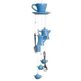 Bits-and-Pieces-Indooroutdoor-Coffee-Cup-Chimes-Blue-Ceramic-Cup-Pitcher-Coffee-Pot-and-Silverware-Chime-Measures-17-34-Long-0