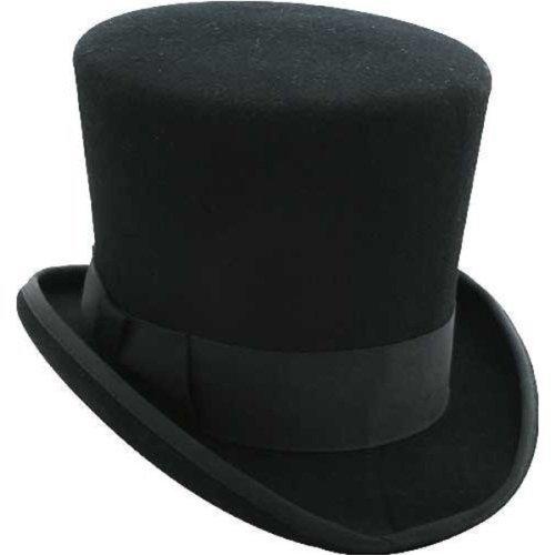 Black Mad Hatter Top Hat 100% Wool Victorian - Alice-in-Wonderland ... c18376d3bf2