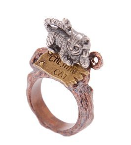Disney-Story-Dreamed-by-Q-pot-Cheshire-Cat-sign-post-ring-US-size-5-0