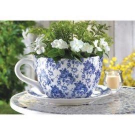 Gifts-Decor-Blue-Floral-Teacup-Saucer-Decorative-Garden-Planter-0