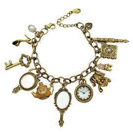 Gold-Plated-Vintage-Fairytale-Charms-Cinderella-Alice-in-Wonderland-Narnia-Style-Chain-Bangle-Bracelet-0
