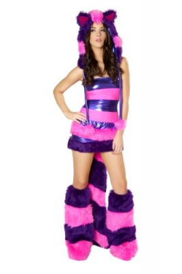 J-Valentine-Womens-Chesire-Cat-Costume-Striped-Tube-Top-and-Wide-Elastic-Waist-Skirt-with-Fur-Tail-PurpleHot-Pink-Large-0