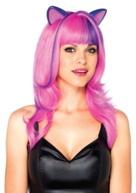 Leg-Avenue-Costumes-Frisky-Kitty-Long-Wavy-Wig-with-Ears-and-Adjustable-Elastic-Strap-Neon-PinkPurple-One-Size-0-0
