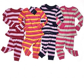 Leveret-Big-Girls-Striped-2-Piece-Pajama-Set-100-Cotton-Size-5-14-Years-0